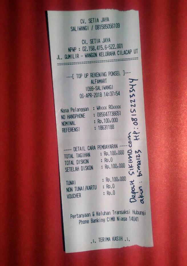 Contoh Konfirmasi Deposit via Alfamart/ Indomaret